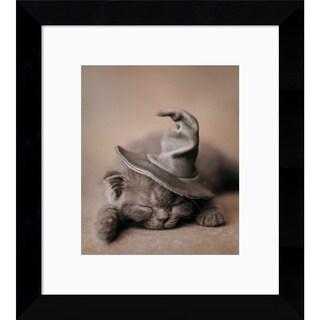 Framed Art Print 'Cute Is Hard Work Cat' by Rachael Hale 9 x 10-inch
