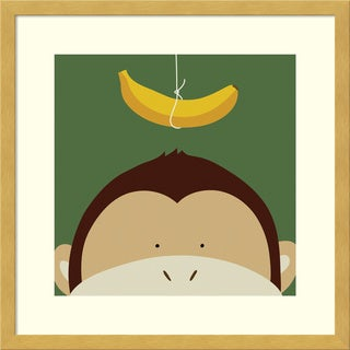 Framed Art Print 'Peek-a-Boo Monkey' by Yuko Lau 17 x 17-inch
