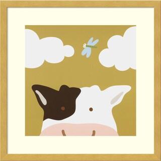 Framed Art Print 'Peek-a-boo III - Cow' by Yuko Lau 17 x 17-inch