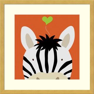 Framed Art Print 'Peek-a-Boo Zebra' by Yuko Lau 17 x 17-inch