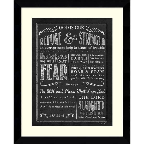 Framed Art Print \'Chalkboard Psalm 46\' by Jennifer Pugh 26 x 32-inch ...