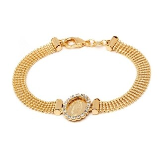 Goldplated Clear Crystal St. Guadalupe Popcorn Bracelet