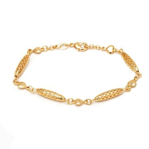 Goldplated Oval and Heart Link Bracelet - Gold