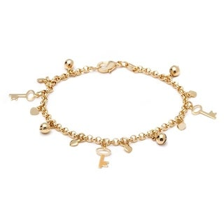 18k Goldplated Key and Ball Charm Bracelet