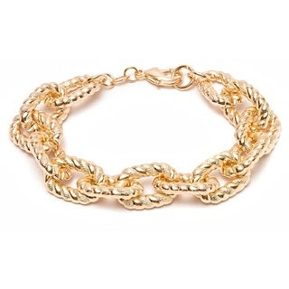 Goldplated Textured Cable Link Bracelet