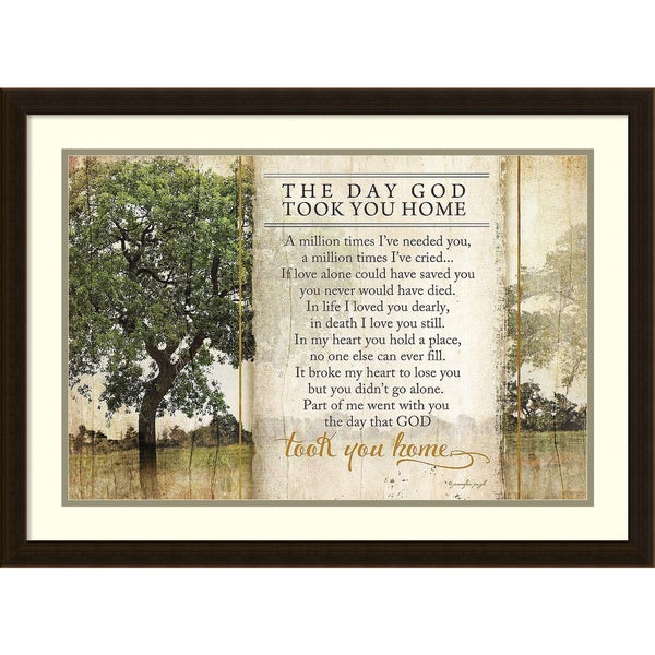 Framed Art Print 'Took You Home Remembrance Prayer' by Jennifer Pugh 30 x 22-inch