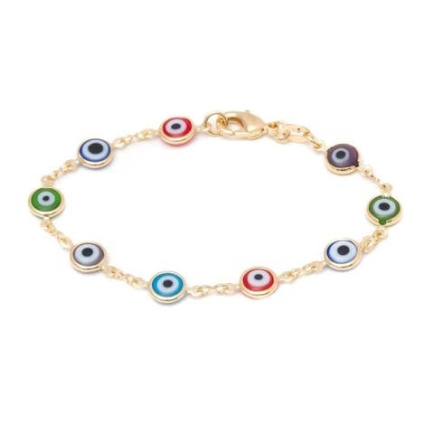 Goldplated Multicolor Evil Eye Bracelet - Yellow