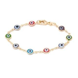 Goldplated Multicolor Evil Eye Bracelet - Yellow
