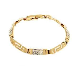 18k Goldplated Clear Crystal Tribal Bracelet