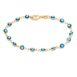 Goldplated Aqua Crystal Evil Eye Bracelet - Yellow
