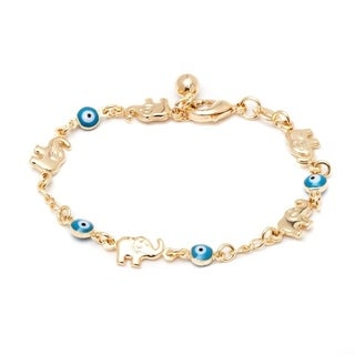 Goldplated Aqua Elephant and Evil Eye Bracelet