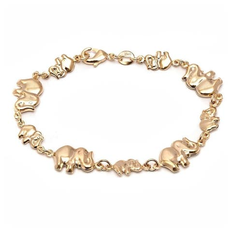 Goldplated Elephant Link Bracelet - Gold