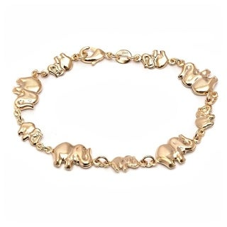 Goldplated Elephant Link Bracelet