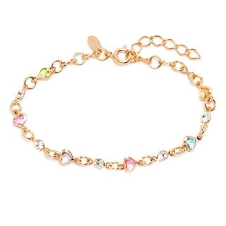 Goldplated Multicolor Austrian Crystal Heart Link Bracelet