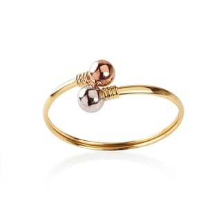 Goldplated Cuff Bangle with Rose and Silvertone Ball Ends