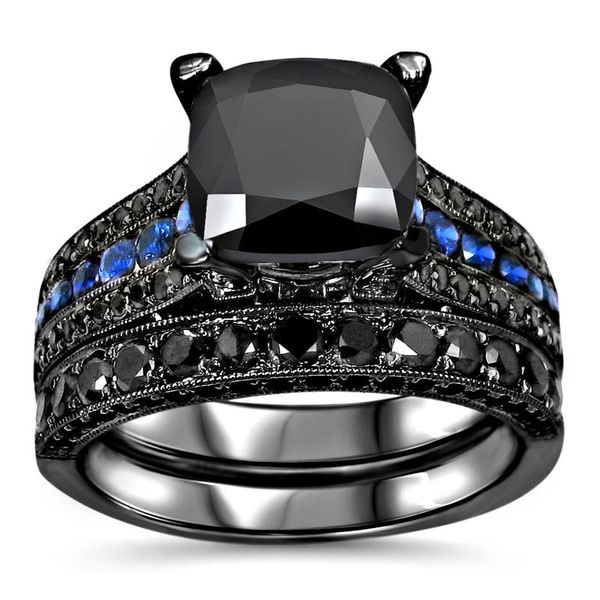 Noori 14k Black Gold 4 2/5ct TDW Black Diamond Blue Sapphire Engagement Ring Set - White