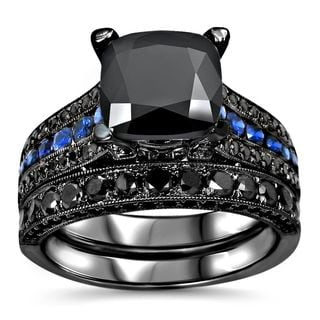 Noori 14k Black Gold 4 2/5ct TDW Black Diamond Blue Sapphire Engagement Ring Set