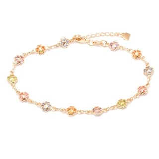Goldplated Multicolor Austrian Crystal Clover Bracelet