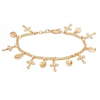 18k Goldplated Cross and Prayer's Arms Charm Bracelet