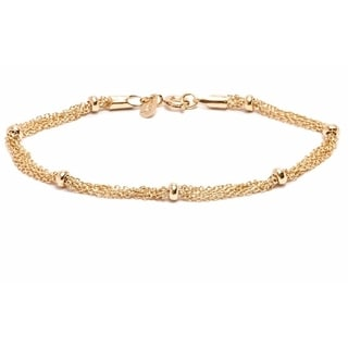 18k Goldplated Multi-strand and Ring Bracelet