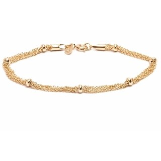 Goldplated Multi-strand and Ring Bracelet - Gold