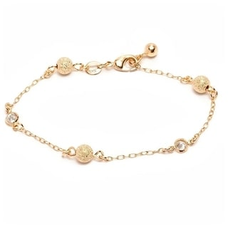 Goldplated White Austrian Crystal Textured Ball Link Bracelet