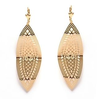 18k Goldplated Curved Cut-out Leaf Drop Earrings