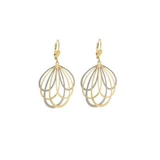 Goldplated Two-tone Multi Teardrop Drop Earrings