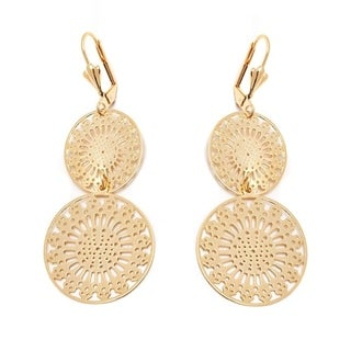 18k Goldplated Double Snow Flake Drop Earrings