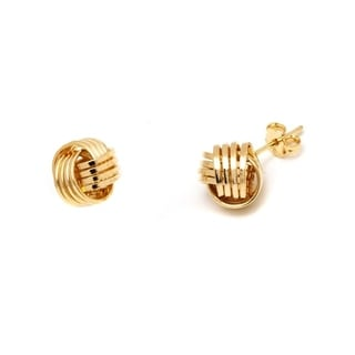 18k Goldplated 3 Row Love Knot Stud Earrings