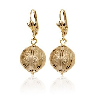 Goldplated 14mm Textured Ball Drop Earrings