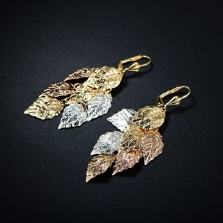 Goldplated Three-tone Textured Leaf Chandelier Earrings