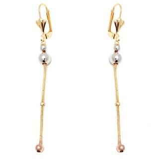 Goldplated Three-tone Triple Ball Chain Drop Earrings