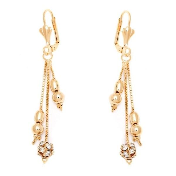 Goldplated Clear Crystal Triple Chain Drop Earrings