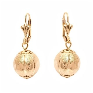 18k Goldplated Textured Ball Drop Earrings