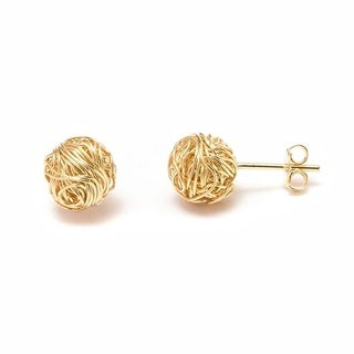 Goldplated Natural Shell Double Sided Woven Knot Earrings