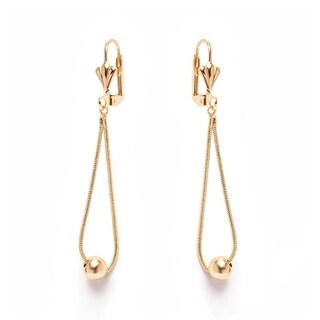 Goldplated Teardrop and Ball Drop Earrings