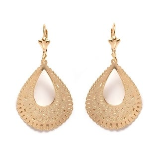 Goldplated Cutout Teardrop Drop Earrings