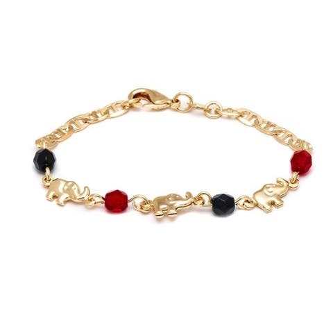 Goldplated Black and Red Elephant Bracelet - Gold