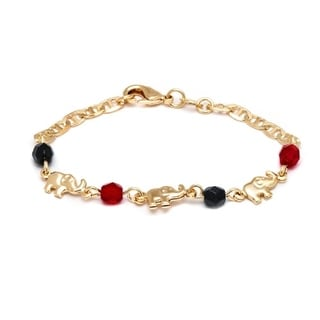 Goldplated Black and Red Elephant Bracelet
