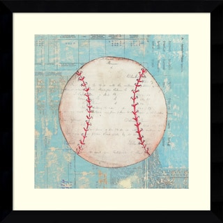 Framed Art Print 'Play Ball I Baseball' by Courtney Prahl 14 x 14-inch