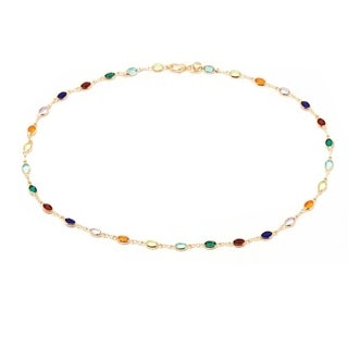 18k Goldplated Dark Multicolor Crystal Oval Bracelet