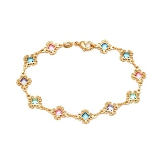 Goldplated Multicolor Crystals Swirl Diamond Anklet