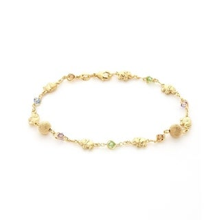 Gold Plated Elephant and Light Multi-color Crystals Anklet Bracelet - Yellow