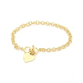 Goldplated Cable Link Heart Ankle Bracelet