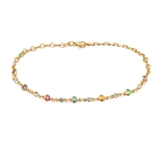 Goldplated Multicolor Austrian Crystal Heart Link Anklet Bracelet