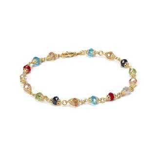 18k Goldplated Diamond-cut Dark Multi-color Crystals Anklet Bracelet
