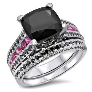 Noori 14k White Gold 4 1/10ct TDW Black Diamond and Pink Sapphire Engagement Ring Set