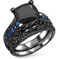 Noori 14k Black Gold 4 1/10ct TDW Black Diamond Blue Sapphire Engagement Ring Set - White