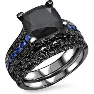 noori 14k black gold 4 110ct tdw black diamond blue sapphire engagement ring set - Black And Blue Wedding Rings
